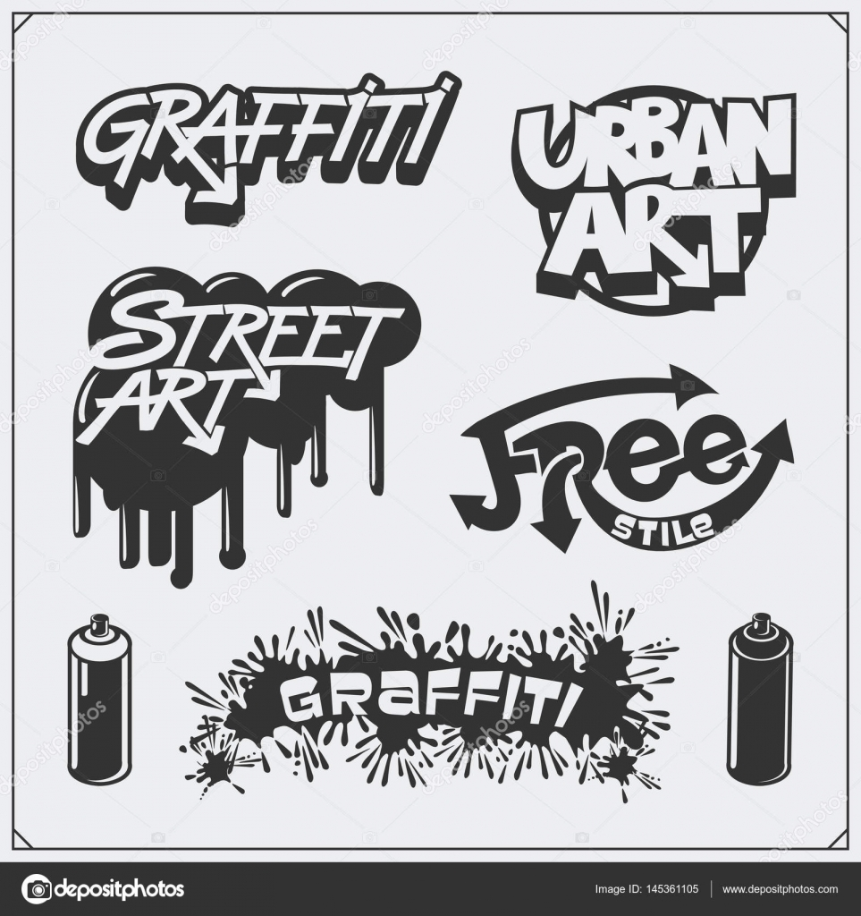 Set of graffiti school and street art labels badges emblems and design elements vector by