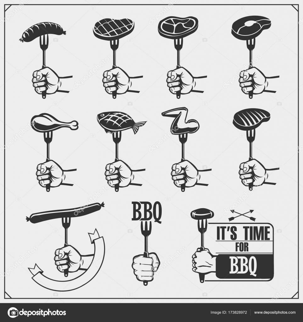 Magnificent Bbq Set Steak Icons Bbq Tools And Labels And Emblems Inzonedesignstudio Interior Chair Design Inzonedesignstudiocom