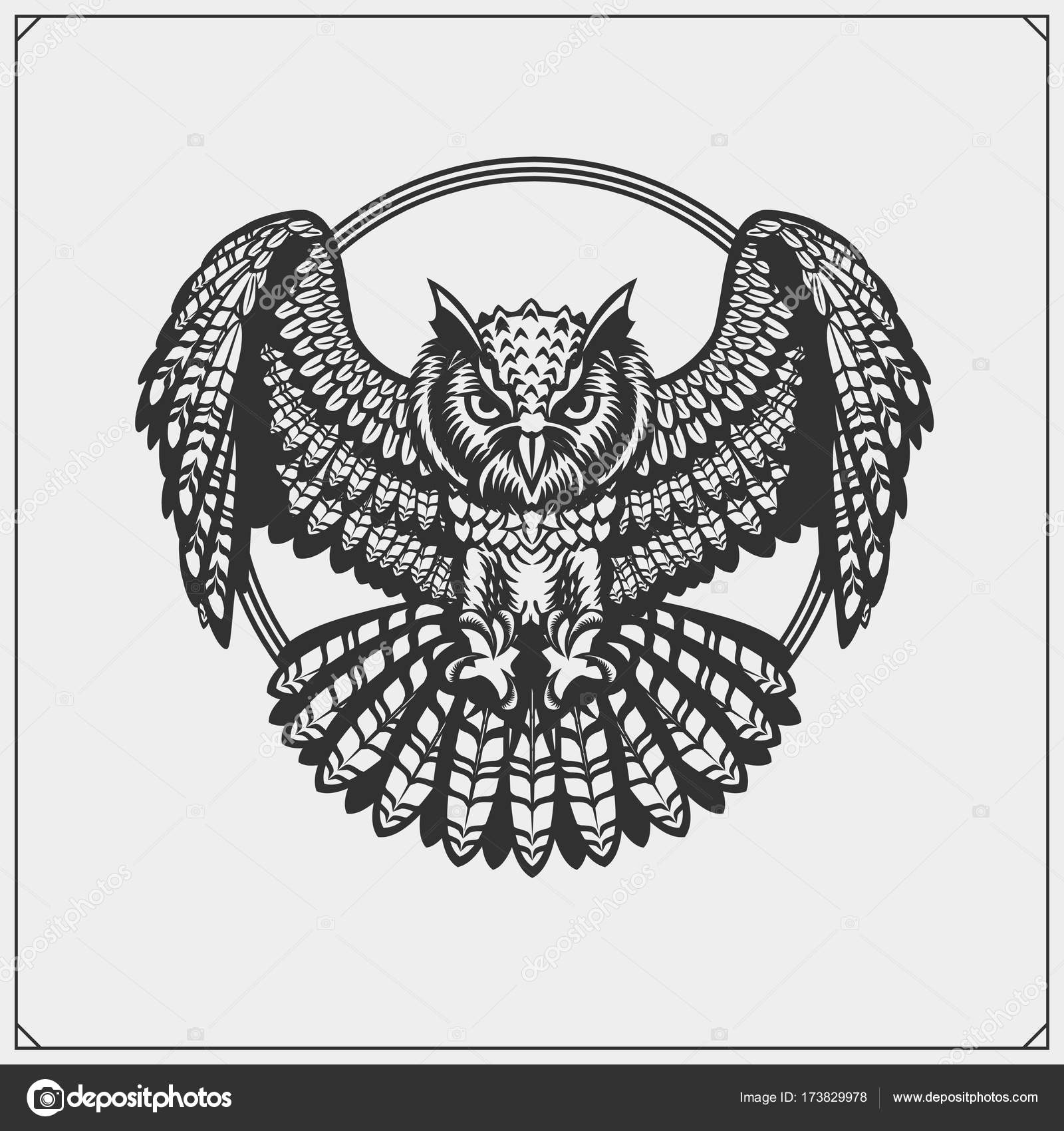 The Emblem With Owl With Open Wings Stock Vector Malashkos