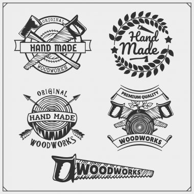 Joinery and hand made emblems, labels, badges and design elements.