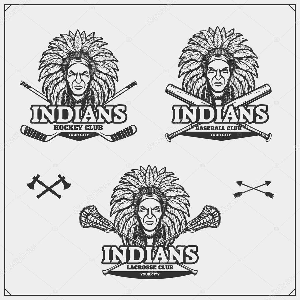 lacrosse baseball and hockey logos and labels sport club emblems rh depositphotos com Charleston Chiefs Hockey Logo Indiana Hockey Logo