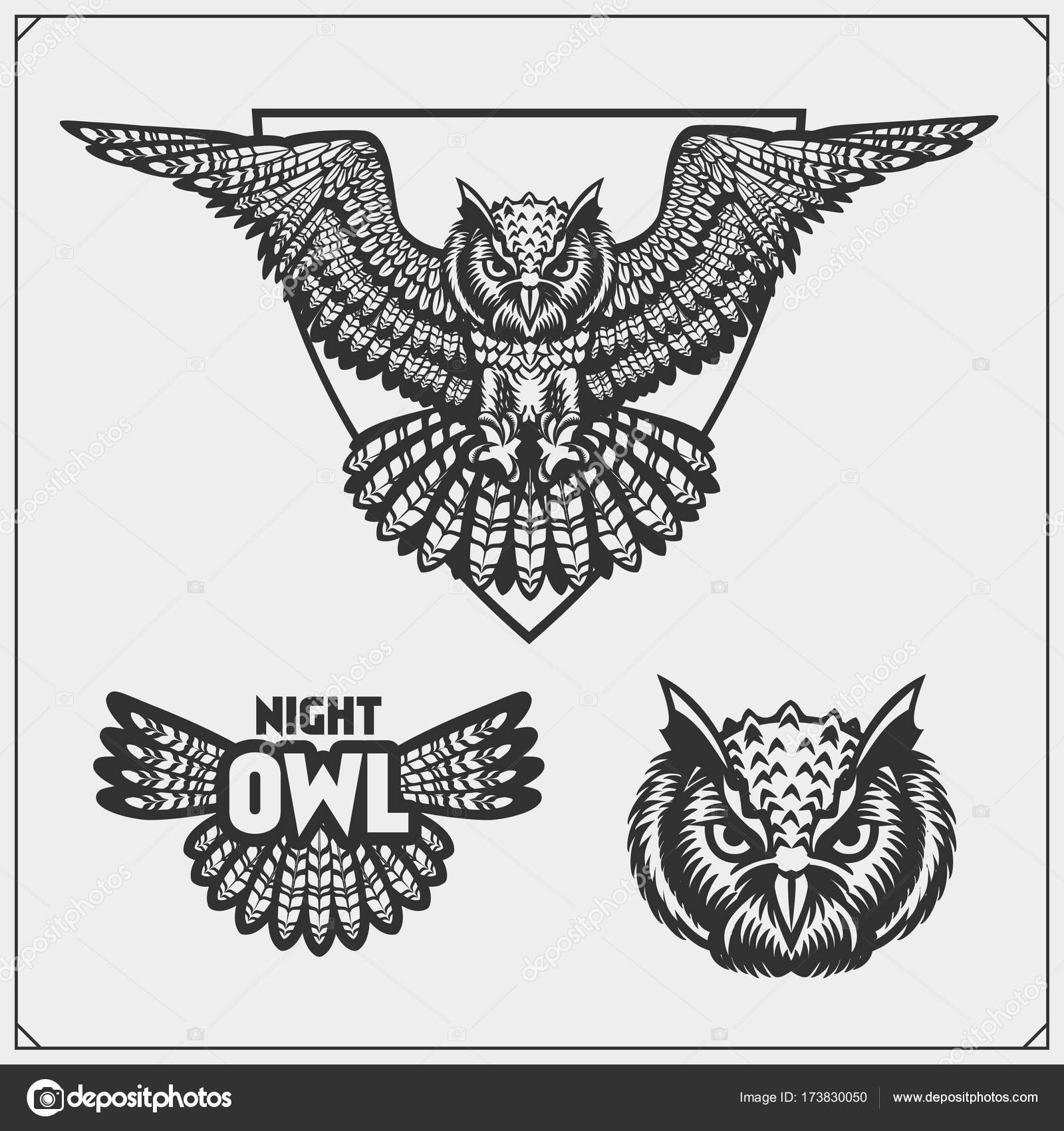 The Emblems With Owl With Open Wings Stock Vector Malashkos