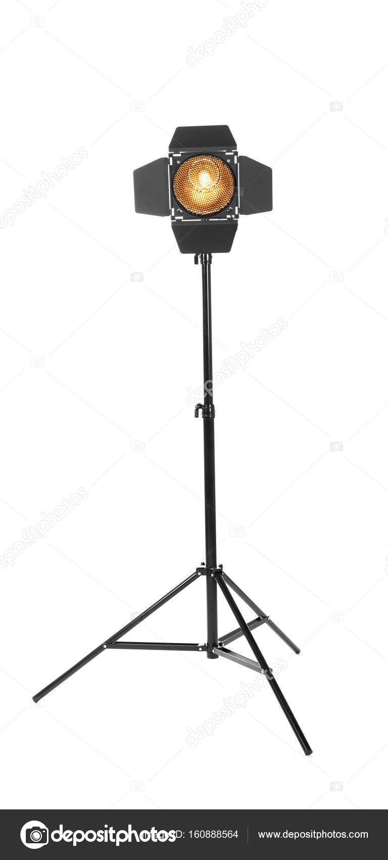 Black studio lighting on a tripod stand isolated on the white background. Photo-studio with lighting equipment. The photo of the honeycomb is glowing.  sc 1 st  Depositphotos & Spot light photography equipment. Studio lighting on a tripod stand ...