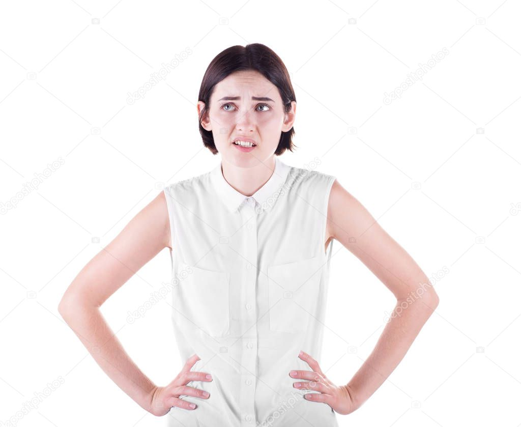 A Disappointed Girl Confused With Hands On Hips