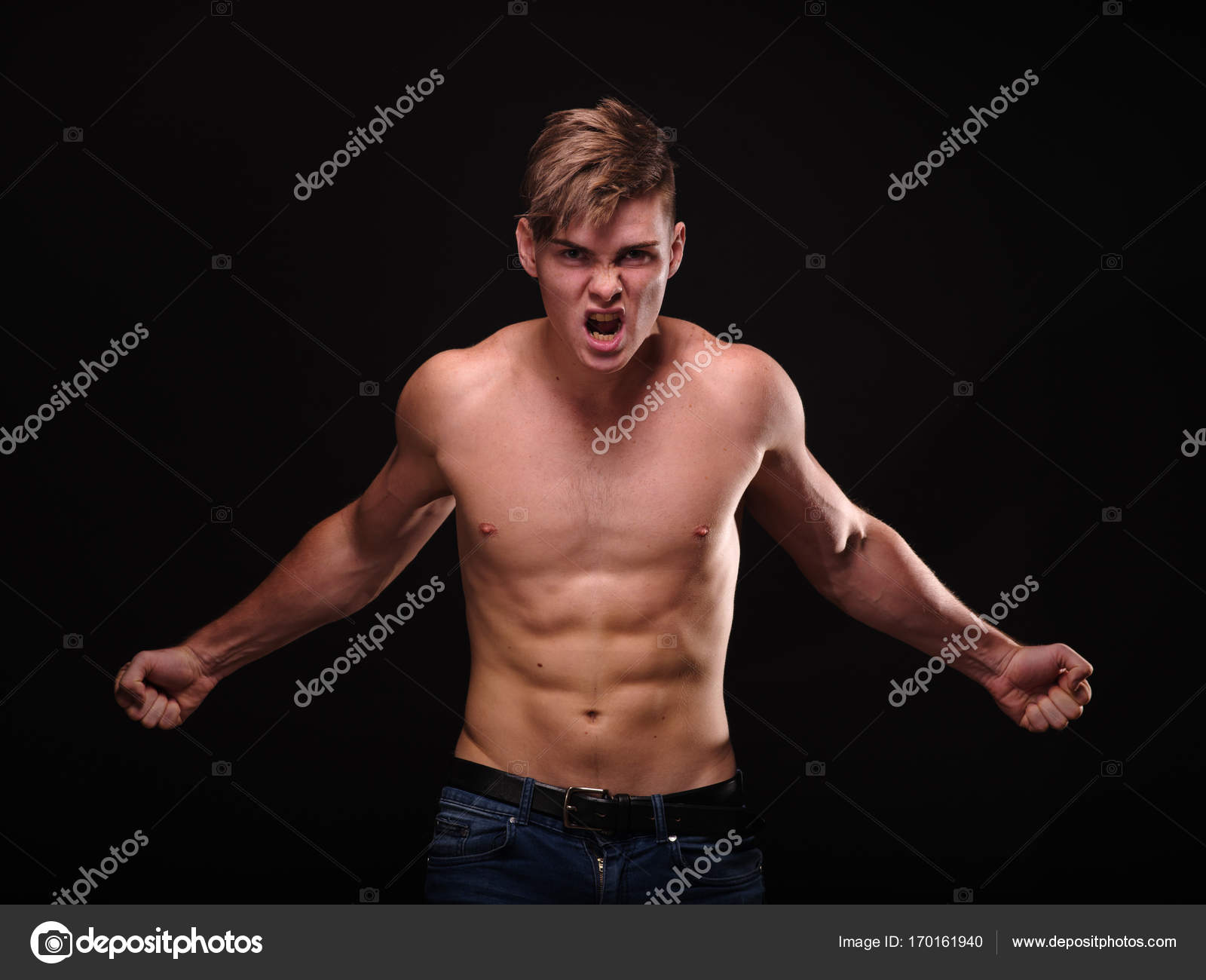 Sexy, Shirtless, Screaming Young Man On A Black Background -9367