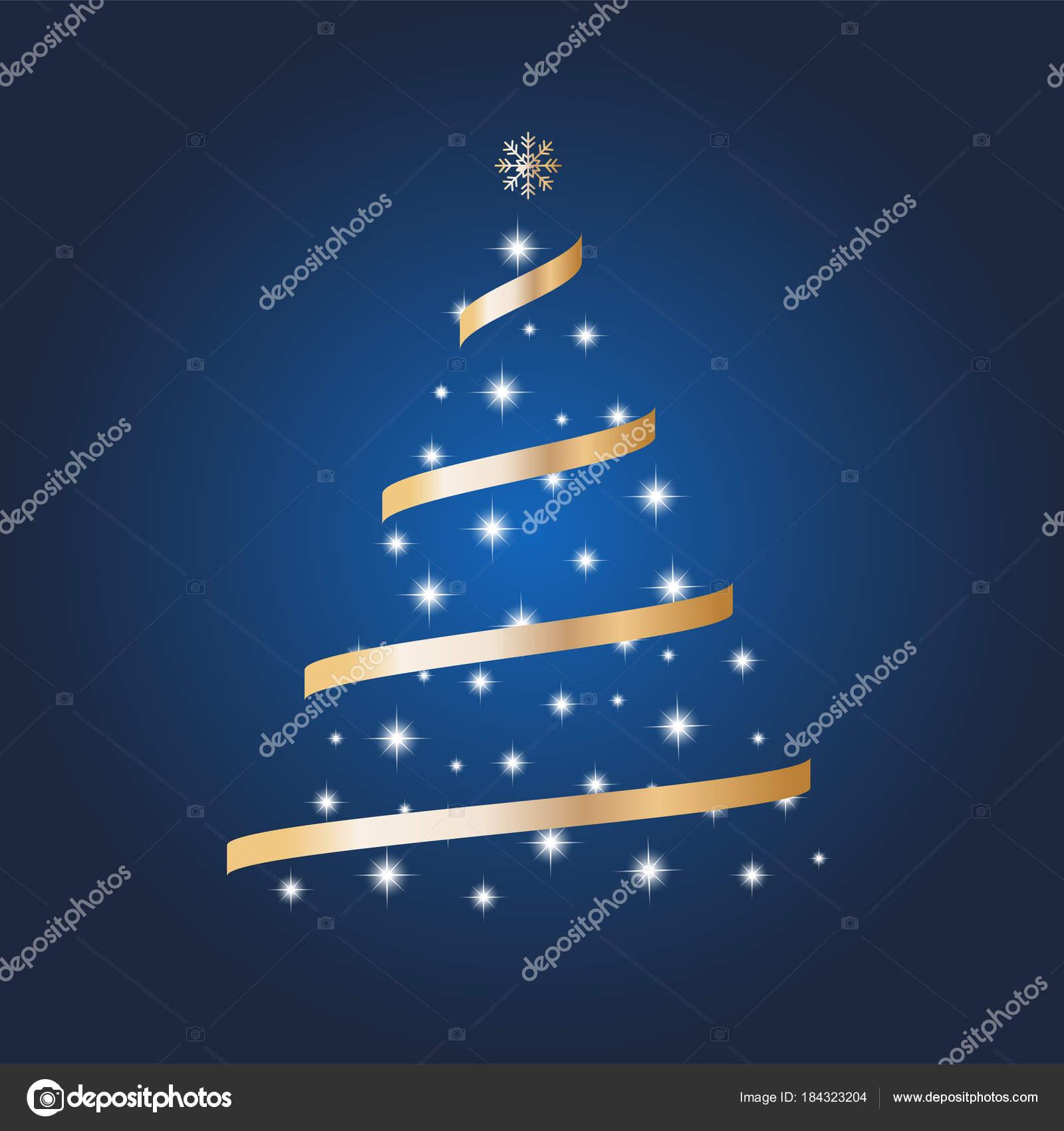 Stella Albero Di Natale Luminosa.Vettore Albero Di Natale Decorato Con Palline E Una Stella Su Uno