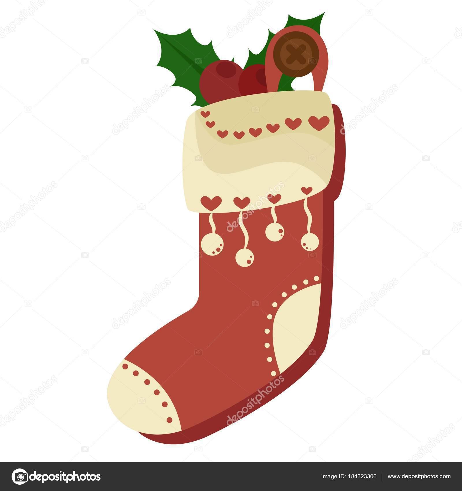 Weihnachten rote Socke voller Süßigkeiten, Kekse und Geschenke ...