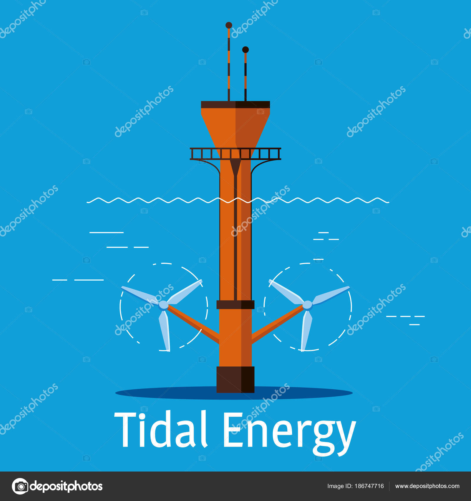 Tidal power station on a blue background. Tidal energy sources concept.  Vector illustration.