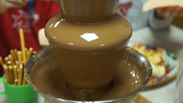 Beautiful Chocolate Fountain Liquid Chocolate Stock Video
