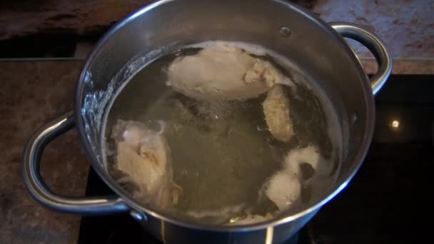 Chicken soup cooking