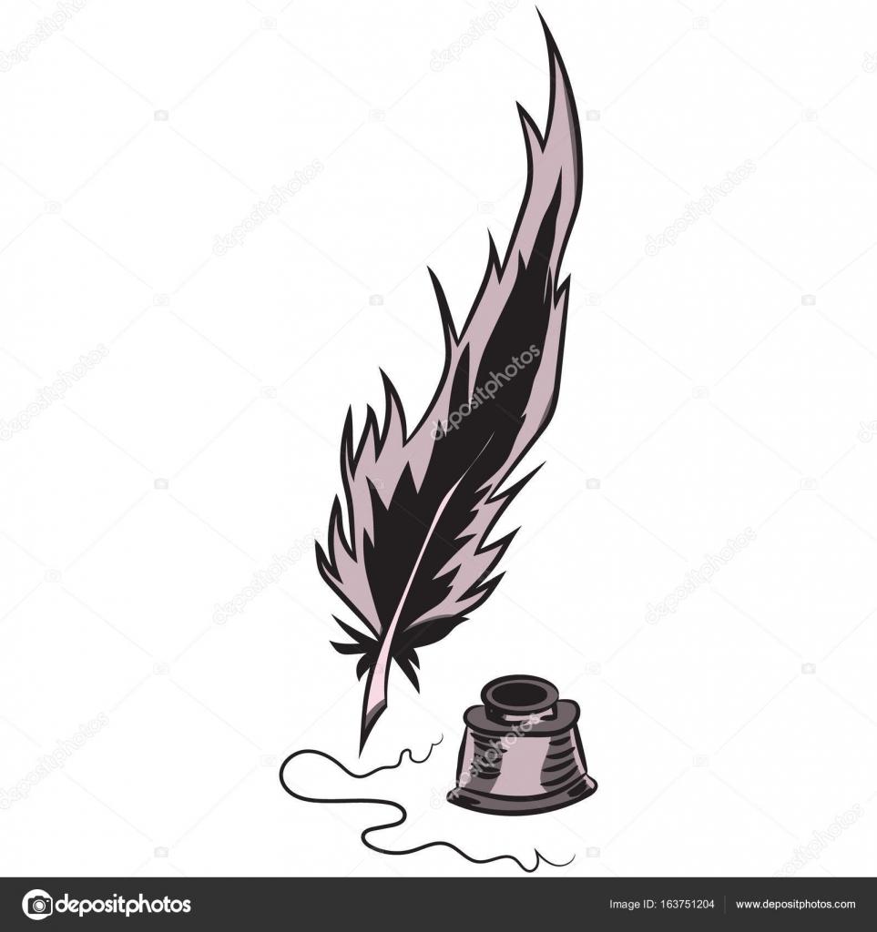 Plume Et Encre D écriture Illustration Vectorielle Dessin