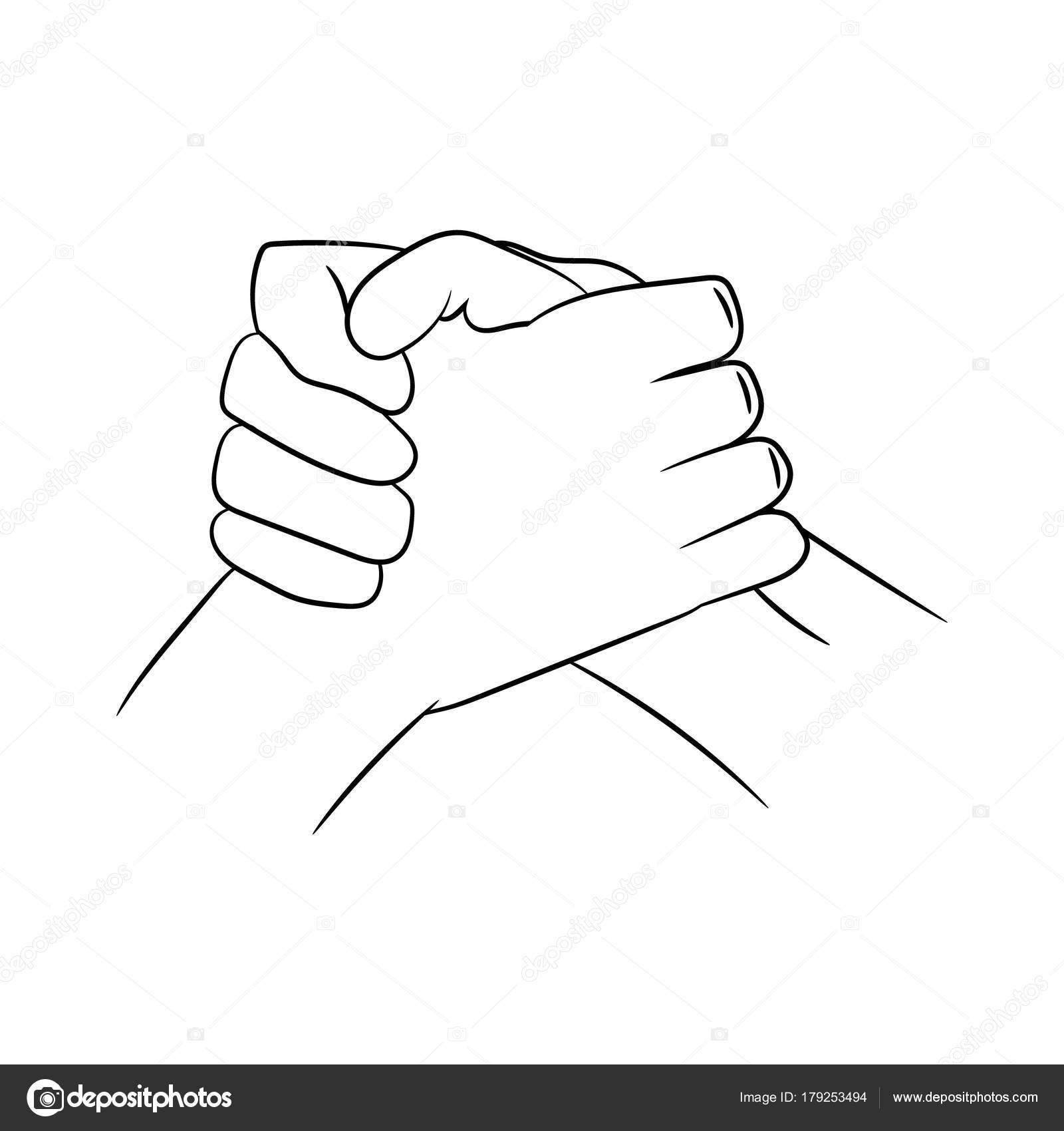 Poign e de main traditionnelle biker illustration - Dessin de la main ...