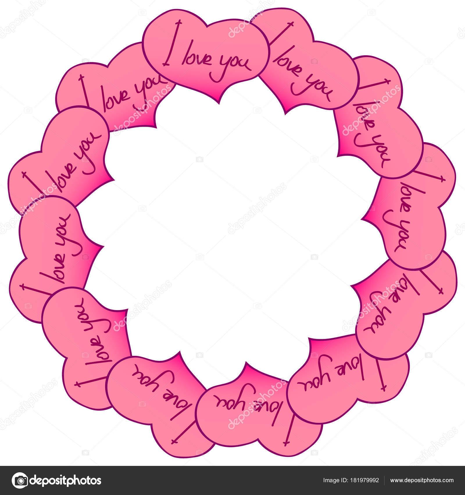 Marco circular de corazones con una inscripción. Te quiero. Gráficos ...