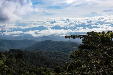 Photo taken from the top view of the sea of mist and clouds on top of the mountain in the morning at Chiangmai Thailand.