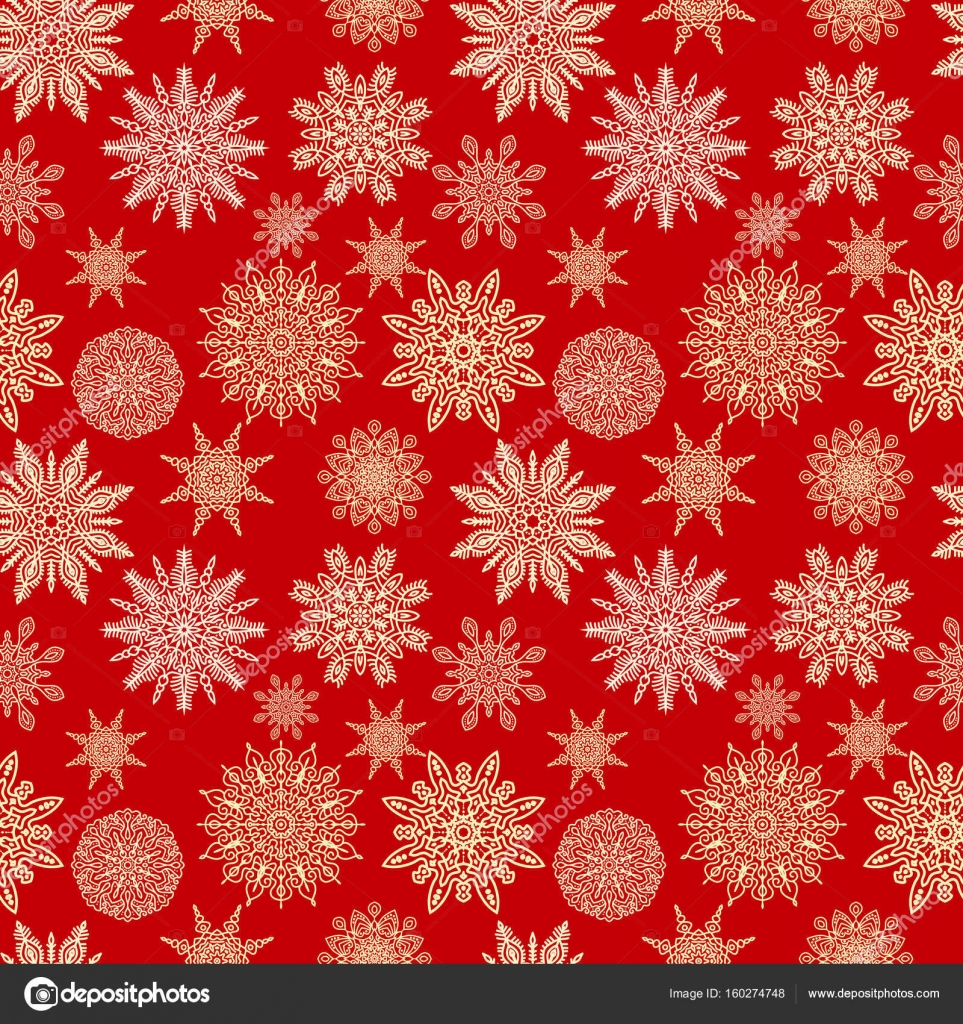 snowflakes vector seamless pattern christmas or new year red