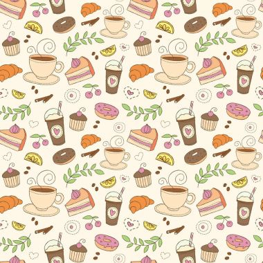 Coffee and sweets seamless vector pattern. Colorful background with cups, desserts, berries, fruits and plants elements. Drink and food beige design texture in doodle style