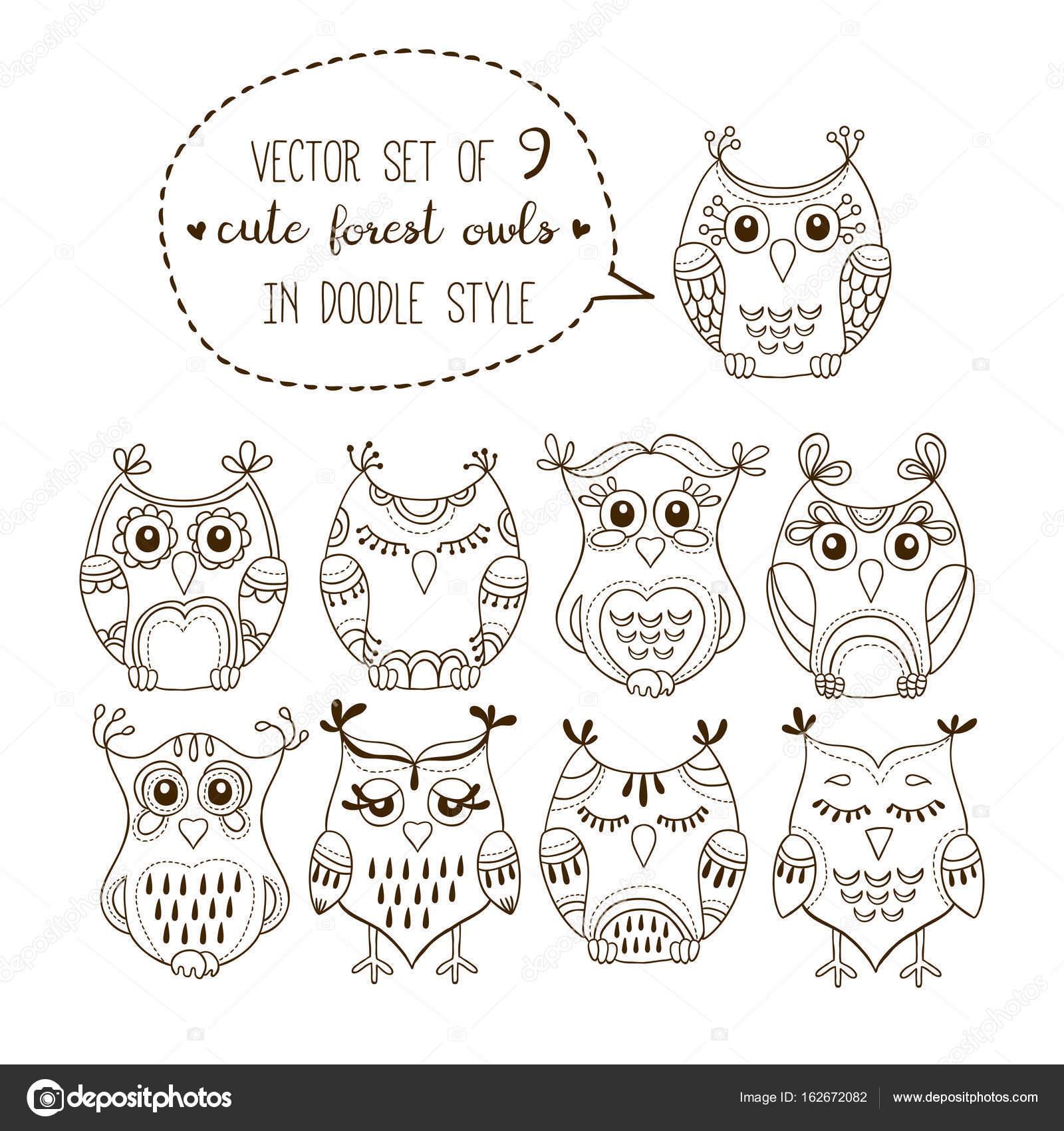 かわいい森のフクロウはベクトル イラスト セットですぬりえ落書き