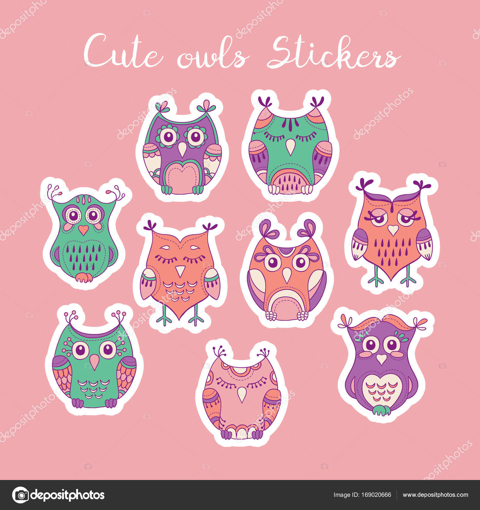 cute owls vector stickers. hand drawn lovely birds for labels and