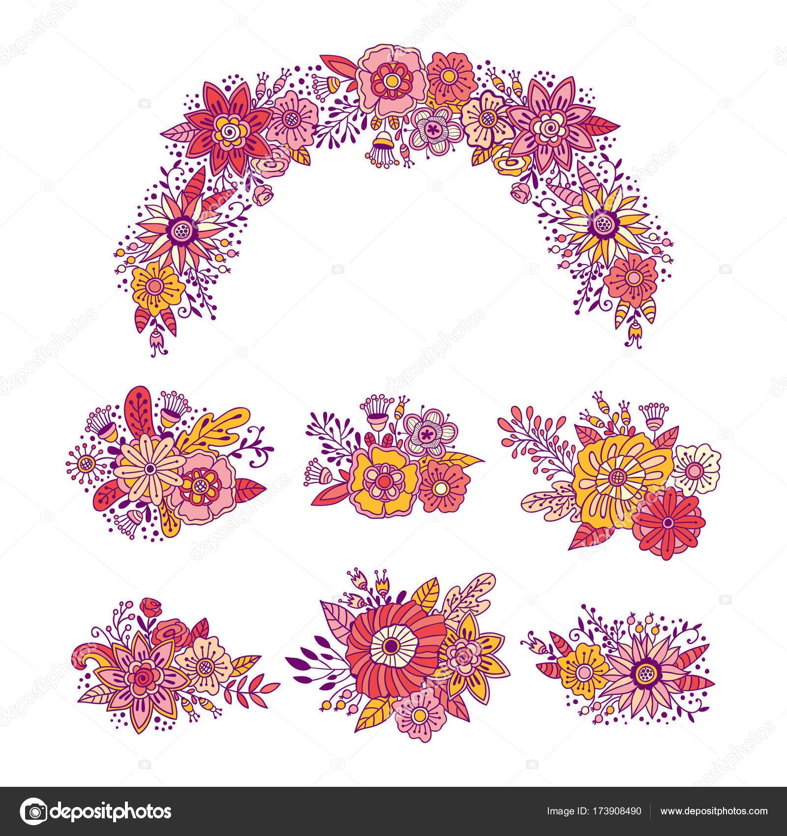 花の花束はベクトル イラスト セットです手描き花飾りリース装飾