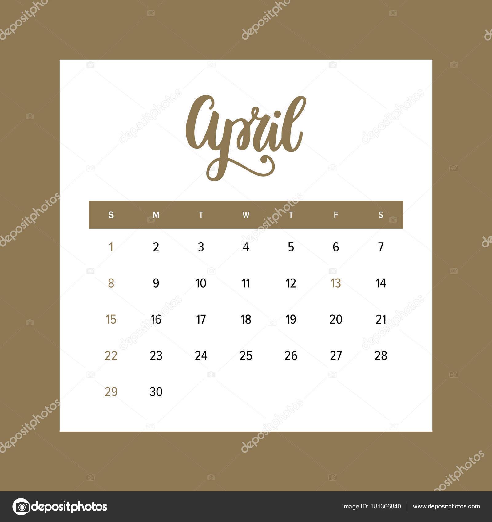 Calendario Aprile 2018 Con Festivita.Calendario Aprile 2018 Mese Dell Anno Elegante Design