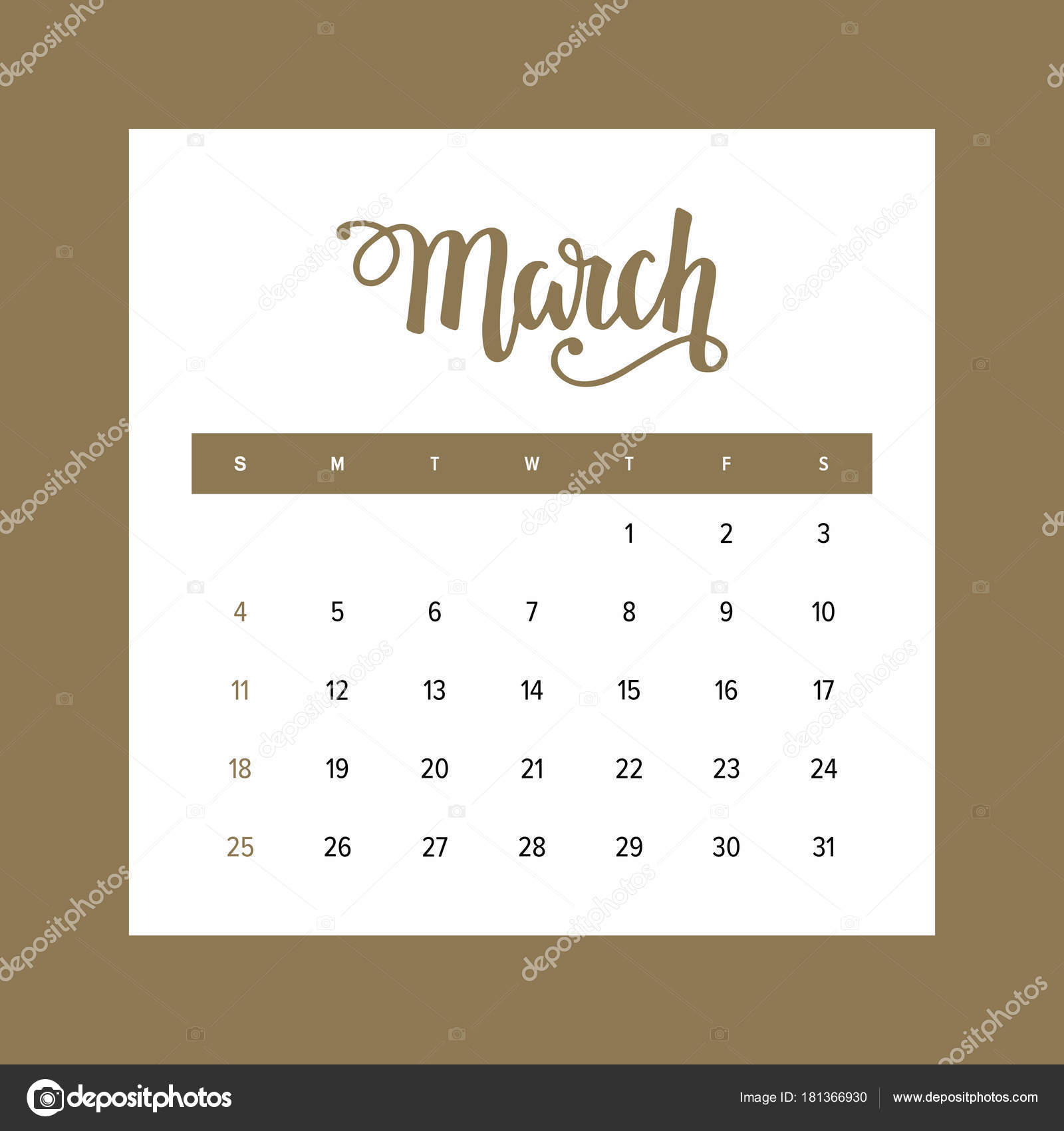 calendar 2018 march one month year elegant design template hand