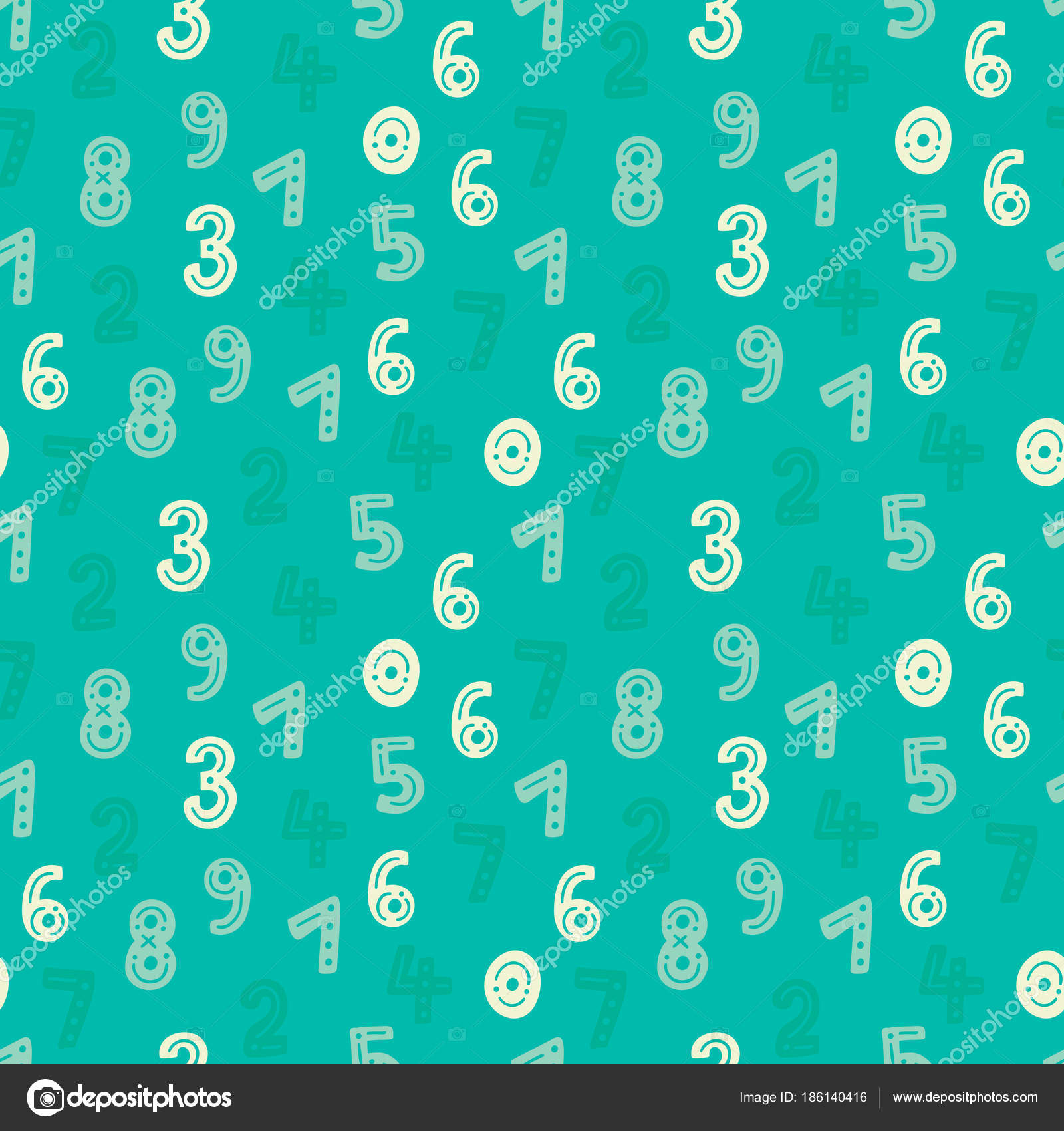 Cute Hand Drawn Numbers Seamless Vector Pattern Green Blue ...
