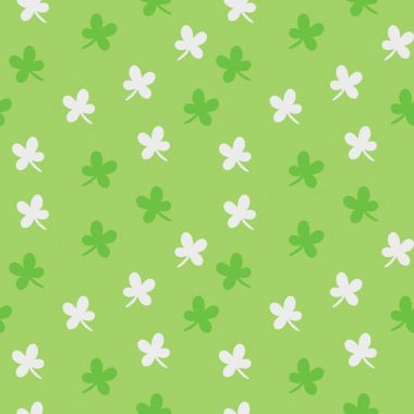 Saint Patrick's day vector seamless pattern. Green and white clover colorful background. Botanic holiday texture