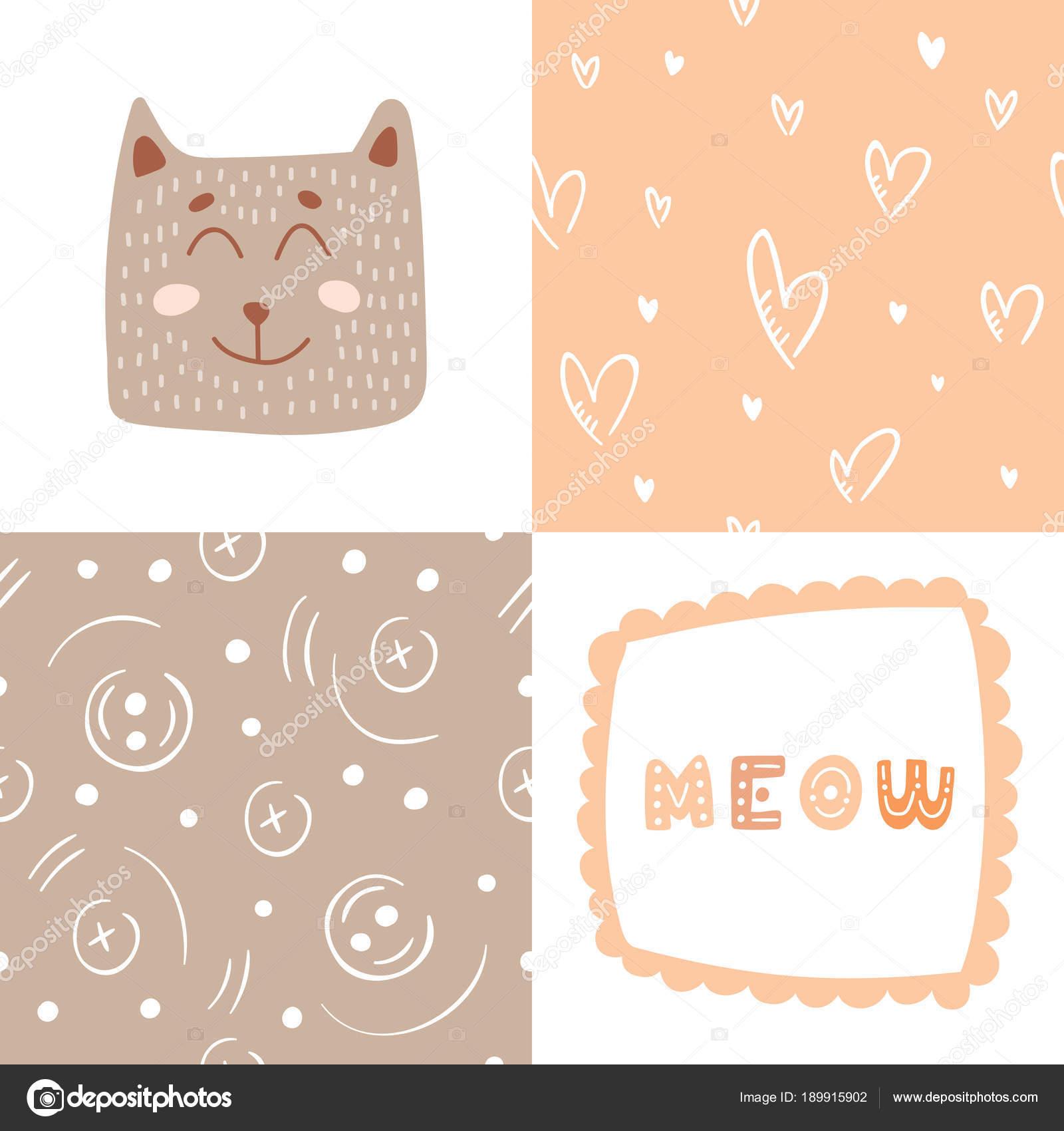 Lindo gato con letras Miau para impresión y dos diferentes patrones ...