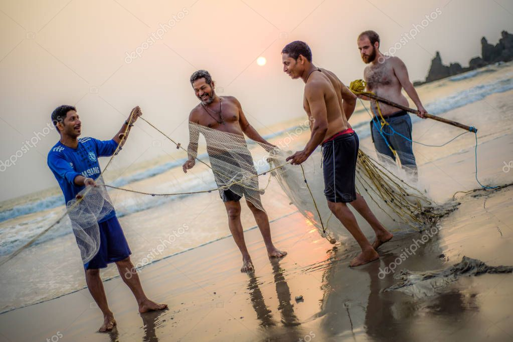 Local fishermen collecting their catch from sea