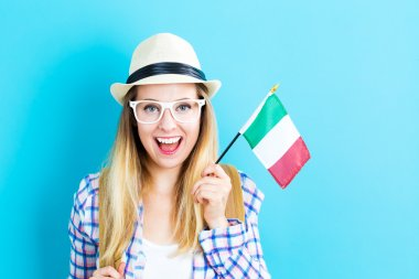 woman holding Italian flag