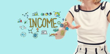 Income concept with young woman