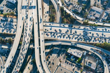 Aerial view of freeway intersection in Los Angeles