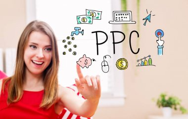 PPC concept with young woman