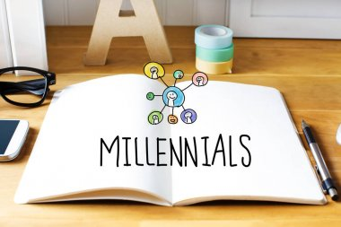 Millennials concept with notebook