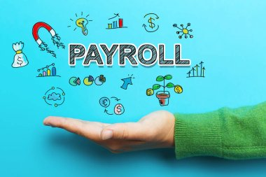 Payroll concept with hand