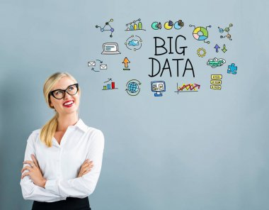 Big Data text with business woman