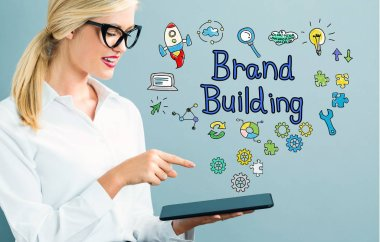 Brand Building text with business woman
