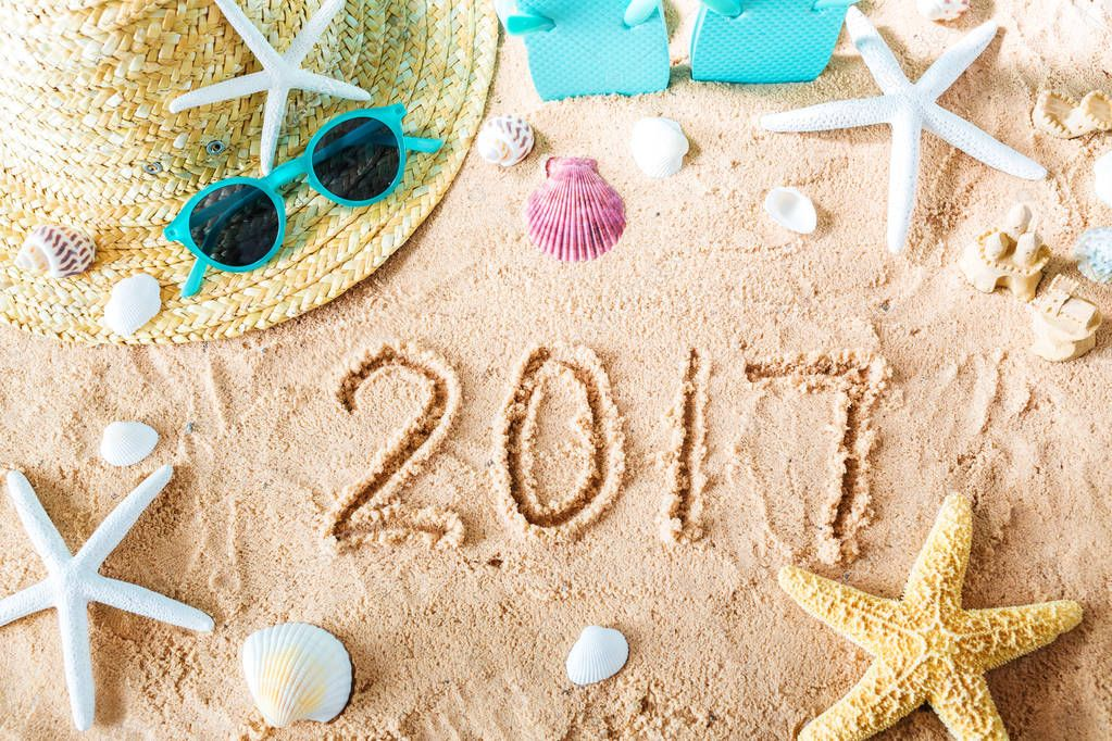 2017 text in the sand