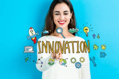 Innovation concept with young woman