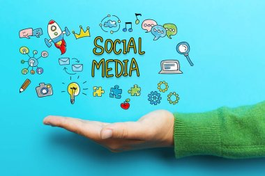 Social Media concept with hand