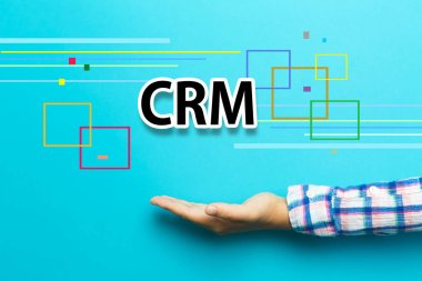CRM concept with hand