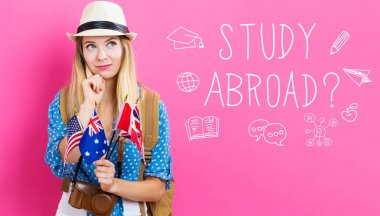 Study Abroad text with woman