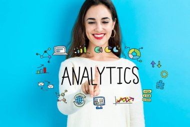 Analytics text with woman