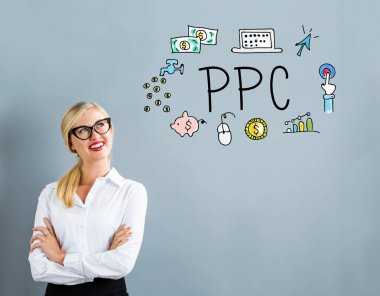 PPC text with business woman