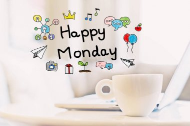 Happy Monday concept with cup of coffee