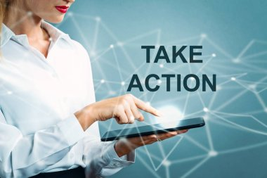 Take Action text with business woman