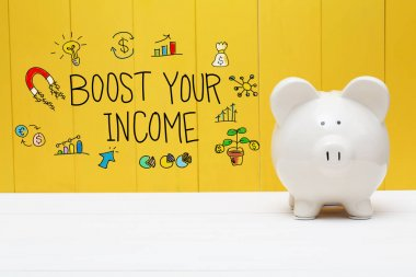 Boost Your Income text with piggy bank