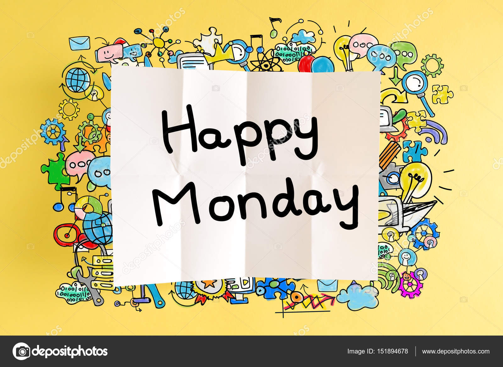 Happy Monday Text With Colorful Illustrations Stock Photo
