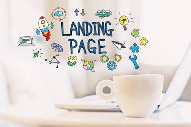 Landing Page concept with a cup of coffee