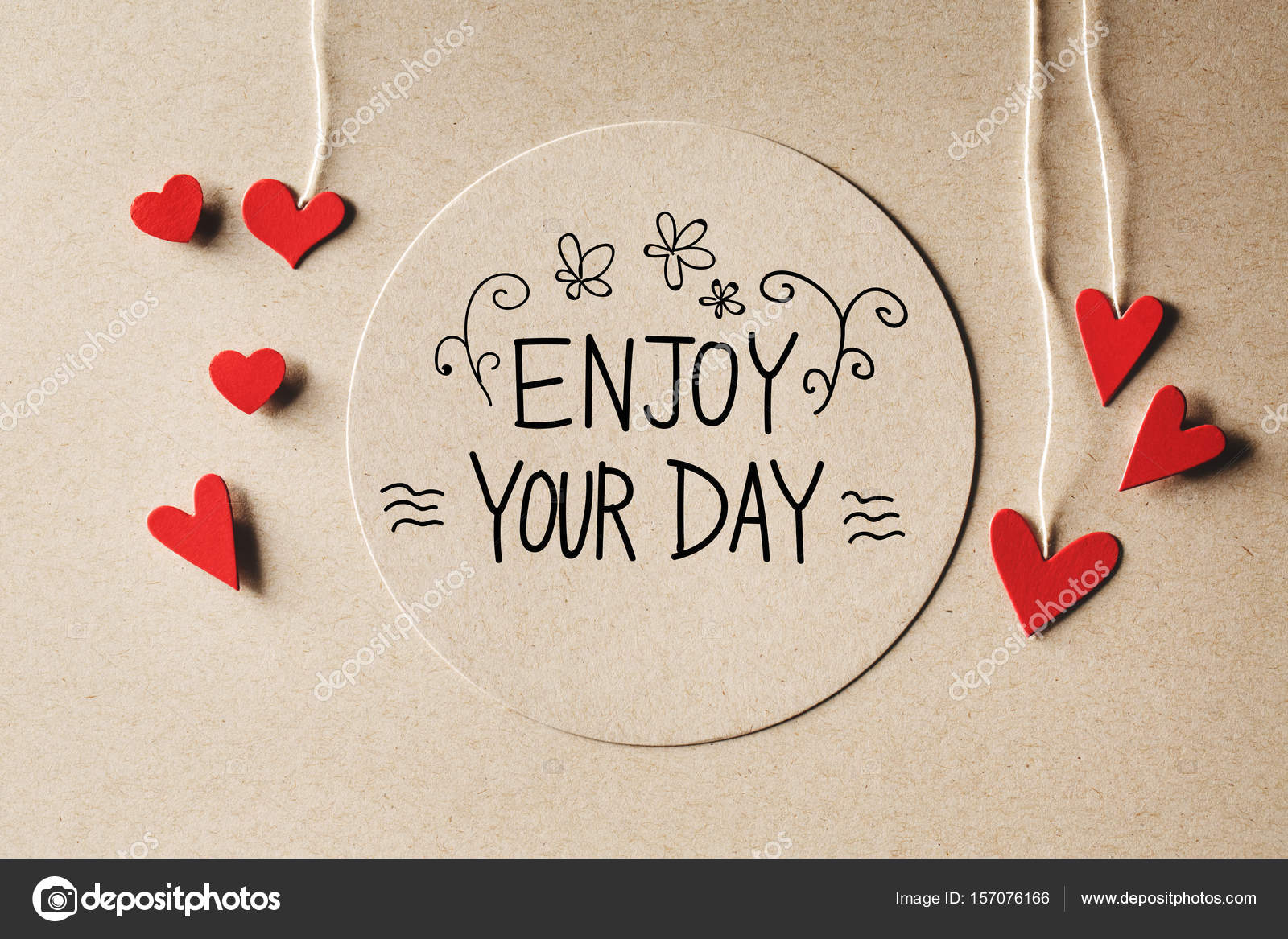 Perfect Enjoy Your Day Message With Small Hearts U2014 Stock Photo